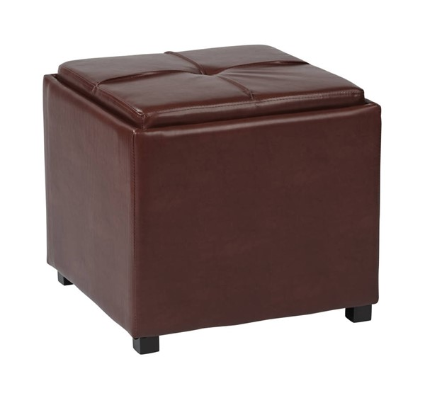 Contemporary Red Faux Leather Wood Nesting Storage Ottomans w/Tray OSP-MET821-RD