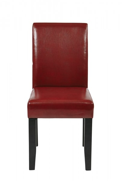 Metro Contemporary Espresso Crimson Red Bonded Leather Parsons Chair OSP-MET86RD
