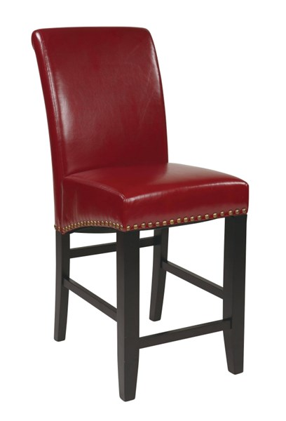 Metro Crimson Red Wood Bonded Leather 24 Inch Parsons Barstool OSP-MET8724RD