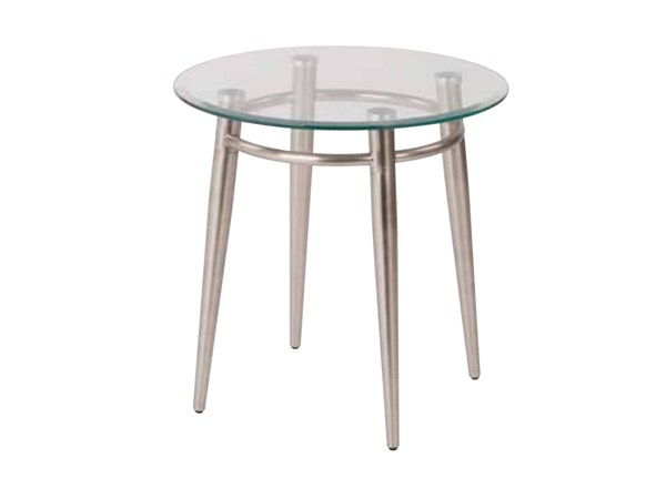 Brooklyn Clear Tempered Glass Round Top Nickel Brushed Legs End Table OSP-MG0920R-NB