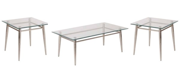 Brooklyn Clear Tempered Glass Top Nickel Brushed Legs Coffee Table Set OSP-MG0922-1242S-OCT