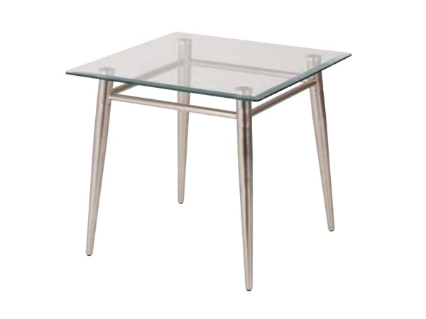 Brooklyn Clear Tempered Glass Square Top Nickel Brushed Legs End Table OSP-MG0922S-NB