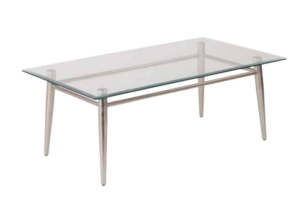 Brooklyn Clear Tempered Glass Top Nickel Brushed Legs Coffee Table OSP-MG1242S-NB