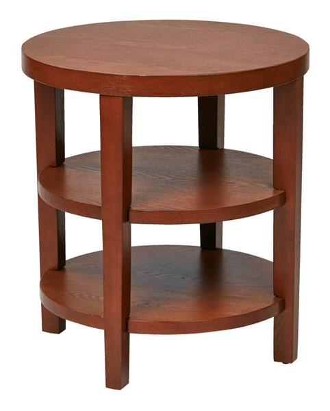 Merge Transitional Cherry Solid Wood MDF 20 Inch Round End Table OSP-MRG09-CHY