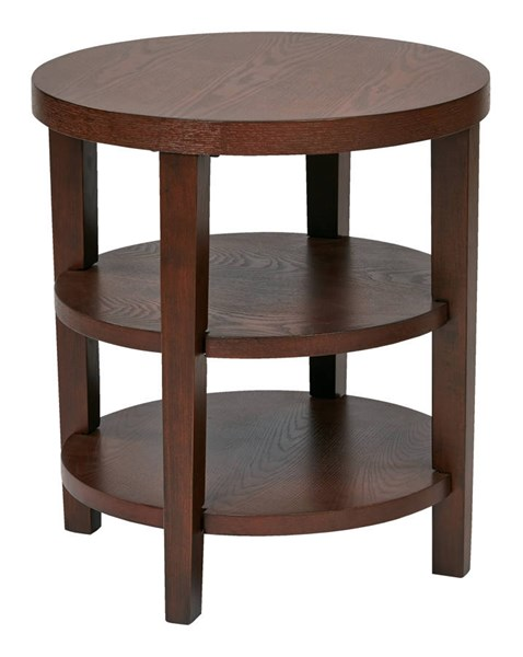 Merge Transitional Mahogany Solid Wood MDF 20 Inch Round End Table OSP-MRG09-MAH