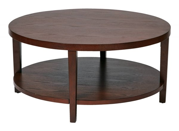 Merge Transitional Mahogany Solid Wood MDF 36 Inch Round Coffee Table OSP-MRG12-MAH