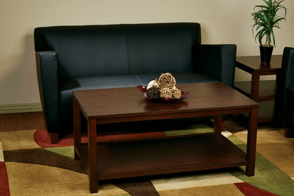 Merge Transitional Mahogany Solid Wood MDF 3pc Rectangle Coffee Table OSP-MRG12R-09S-MAH