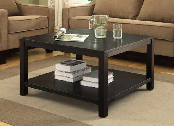 Merge Contemporary Black Wood Square Coffee Table OSP-MRG12SR1-BK