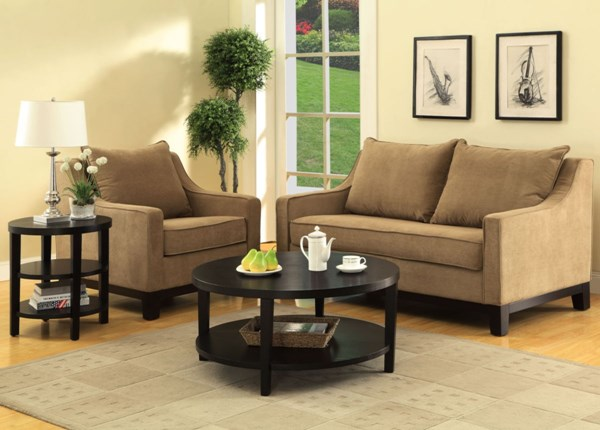 Merge Contemporary Black Wood 3pc Round Coffee Table Set OSP-MRG09-12-BK