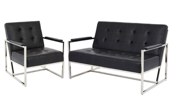 Nathan Contemporary Espresso Black Metal PU Living Room Set OSP-NAT5-LR