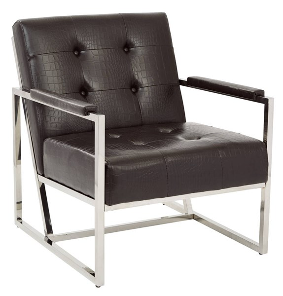 Nathan Contemporary Espresso Croc Faux Leather Metal Frame Chair OSP-NAT51-C43