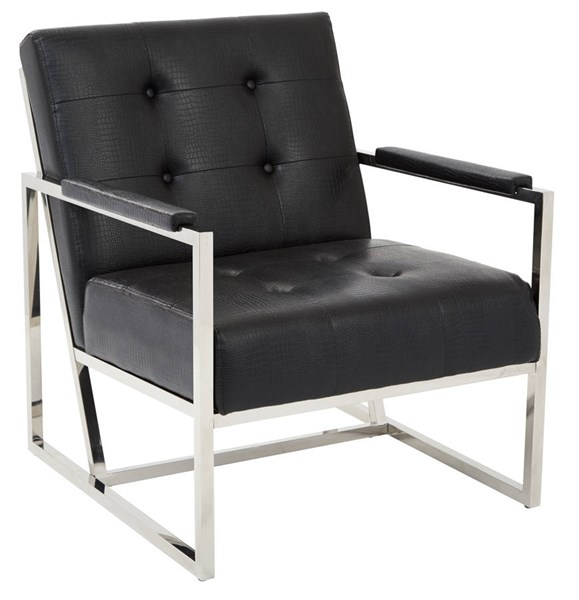 Nathan Contemporary Black Croc Faux Leather Metal Frame Chair OSP-NAT51-C45