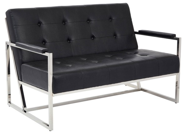 Nathan Contemporary Black Croc Faux Leather Metal Frame Loveseat OSP-NAT52-C45