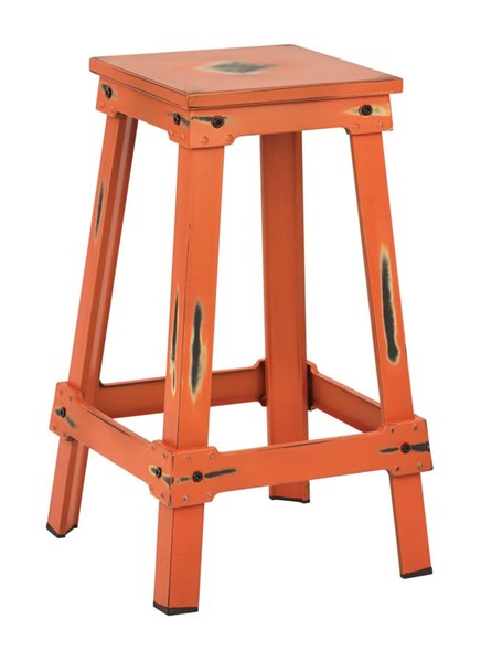 New Castle Traditional Antique Orange Metal 26 Inch Barstool OSP-NCL3126-AOR