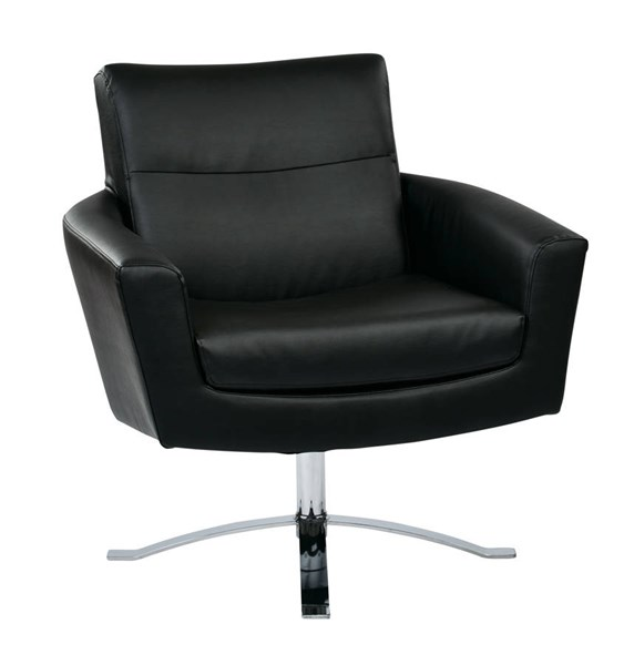 Nova Contemporary Black Faux Leather Chrome Base Chair OSP-NVA51-B18