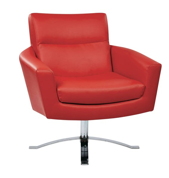 Nova Contemporary Red Faux Leather Chrome Base Chair OSP-NVA51-U9