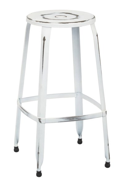 2 Newark Modern Metal Antique White Fully Assembled 30 Inch Barstools OSP-NWK3030A2-AW