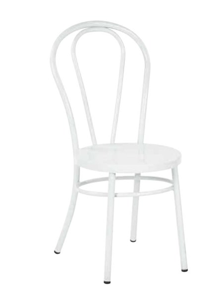 2 Odessa Traditional Solid White Metal Backrest Dining Chairs OSP-OD2918A2-11