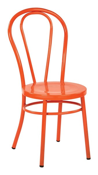2 Odessa Traditional Solid Orange Metal Backrest Dining Chairs OSP-OD2918A2-18