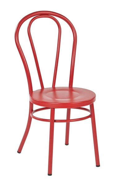 2 Odessa Traditional Solid Red Metal Backrest Dining Chairs OSP-OD2918A2-9