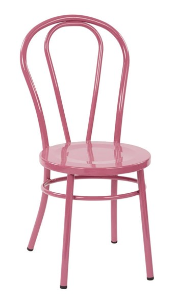 2 Odessa Traditional Pastel Pink Metal Backrest Dining Chairs OSP-OD2918A2-C216