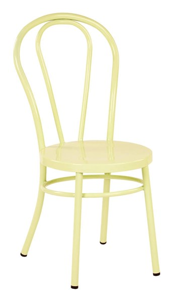 2 Odessa Traditional Pastel Lemon Metal Backrest Dining Chairs OSP-OD2918A2-P702