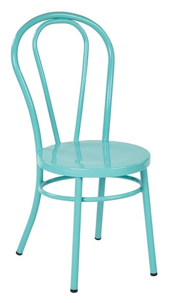 2 Odessa Traditional Pastel Teal Metal Backrest Dining Chairs OSP-OD2918A2-P705