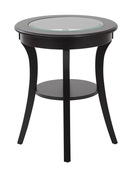 Harper Traditional Brushed Wood Glass Top Round Accent Table OSP-OP-HRAS1-TBL-VAR