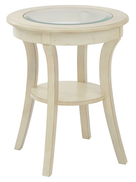 Harper Traditional Antique White Wood Glass Top Round Accent Table OSP-OP-HRAS1-DH4