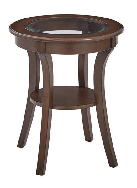 Harper Traditioal Macchiato Wood Glass Top Round Accent Table OSP-OP-HRAS1-YM7