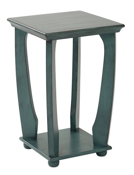 Mila Transitional Caribbean Blue Wood Square Accent Table OSP-OP-MLAS1-YM21