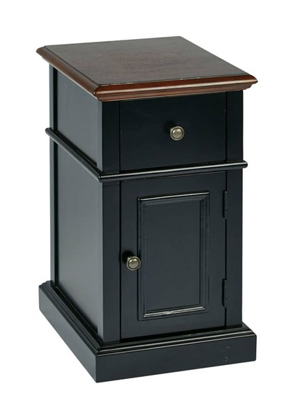 Oxford Casual Black Solid Wood Two Tone Storage Drawer Side Table OSP-OXF08AS-BK