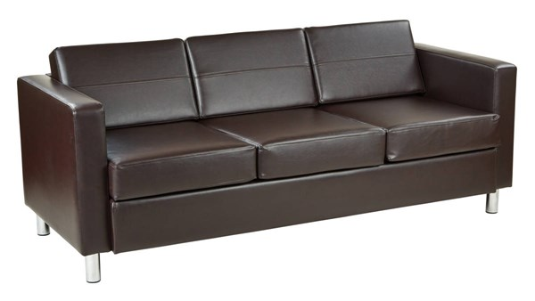 Pacific Contemporary Espresso Vinyl Chrome Wood Sofa OSP-PAC53-V34