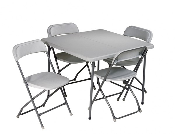 Light Gray Resin 5 Piece Folding Table and Chair Set OSP-PCT-05