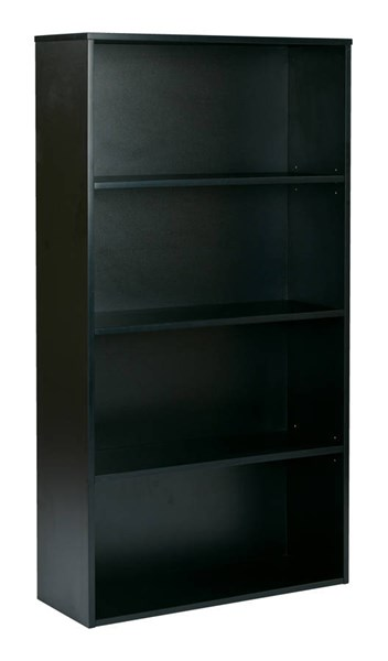 Prado Black 2 Adjustable & 2 Fixed Shelves 60 Inch 4-Shelf Bookcase OSP-PRD3260-BLK