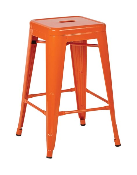 2 Patterson Contemporary Orange Steel 24 Inch Backless Barstools OSP-PTR3024A2-18