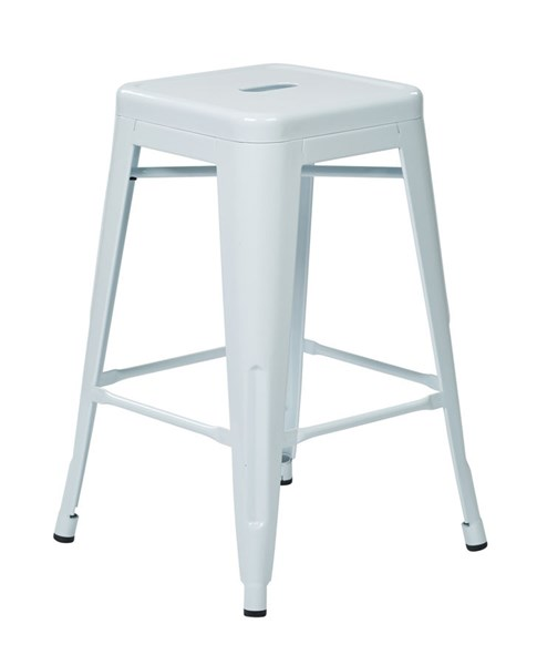2 Patterson Modern White Steel Backless 24 Inch Barstools OSP-PTR3024A2-11
