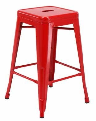 2 Patterson Modern Red Steel Backless 24 Inch Barstools OSP-PTR3024A2-9
