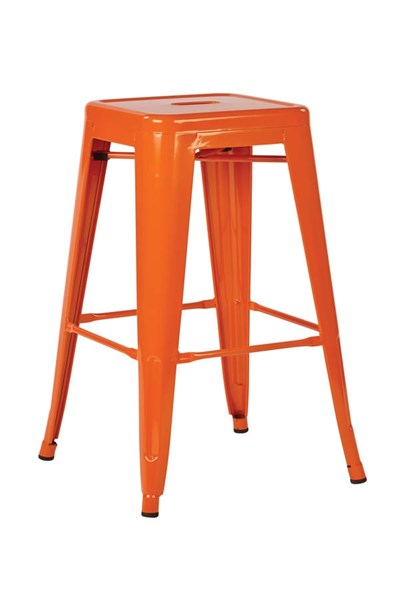 4 Patterson Modern Orange Steel Backless 24 Inch Barstools OSP-PTR3024A4-18
