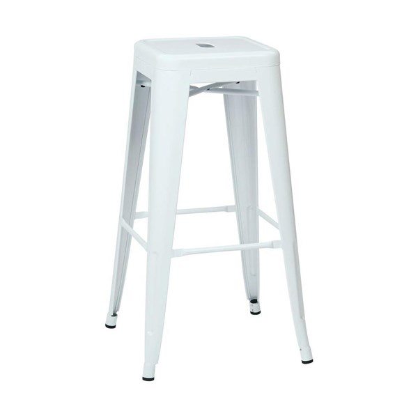 2 Patterson Modern White Steel Backless 30 Inch Barstools OSP-PTR3030A2-11