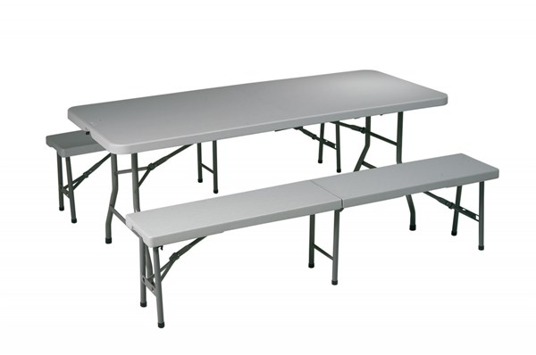 White Resin 3 Piece Folding Table & Bench Set OSP-QT3965