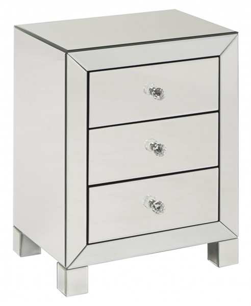 Reflections Silver Mirror 3 Drawer Accent Table OSP-REF173-SLV