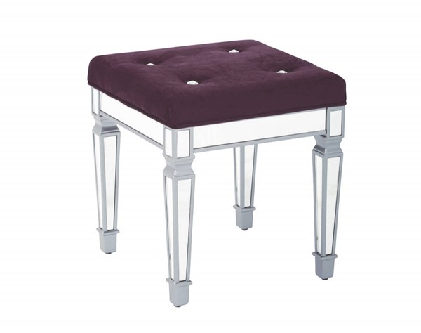 Reflections 18 Inch Mirror Finish Frame Padded Velvet Fabric Top Stool OSP-REF1818-ST-VAR