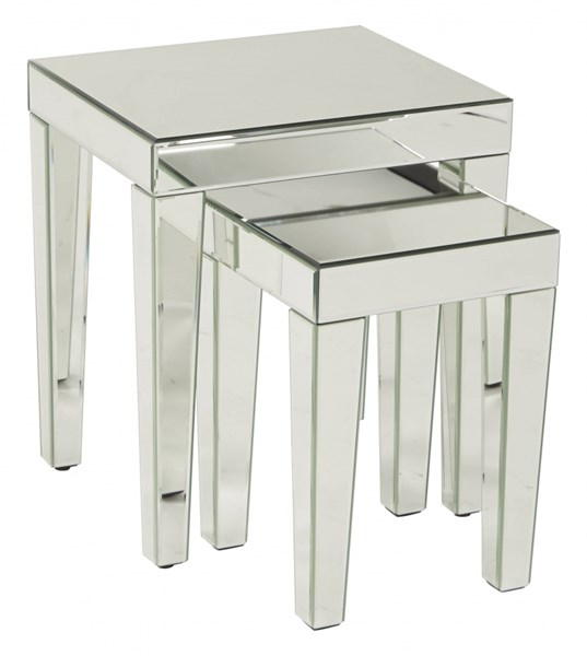 Reflections Contemporary Silver Mirror Glass Nesting Table OSP-REF19-SLV