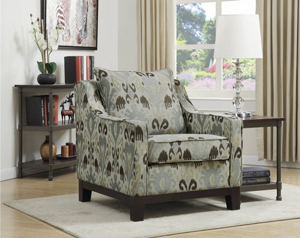 Regent Casual Chair In Arizona Fabric With Dark Expresso