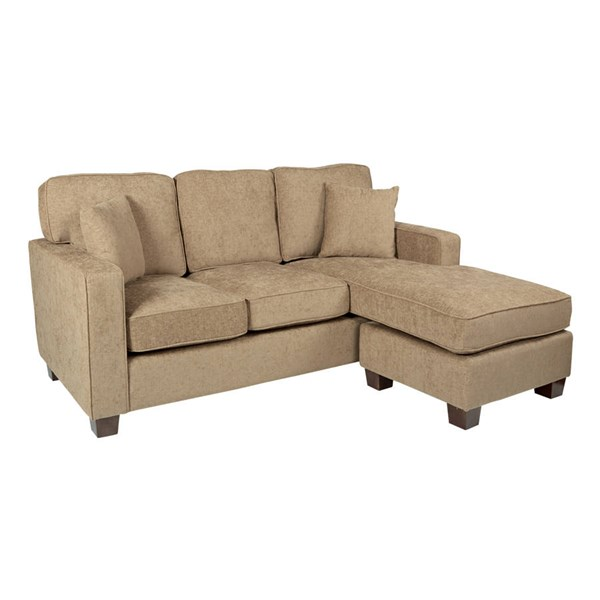 Russell Earth Fabric Coffee Finished Wood Legs Sectional W