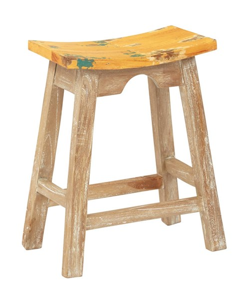 Rustic Yellow Wood Seat White Wash Base 24 Inch Saddle Stool OSP-SAD15-10