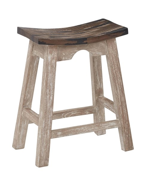Rustic White Brown Solid Wood Armless And Backless 24 Inch Stool OSP-SAD15-1