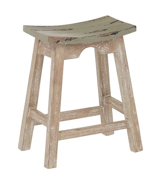 Rustic Grey Wood Seat White Wash Base 24 Inch Saddle Stool OSP-SAD15-2