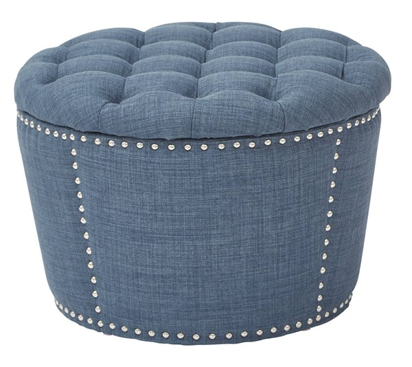 Lacey Traditional Milford Indigo Fabric Solid Wood Tufted Storage Set OSP-SB239-M36